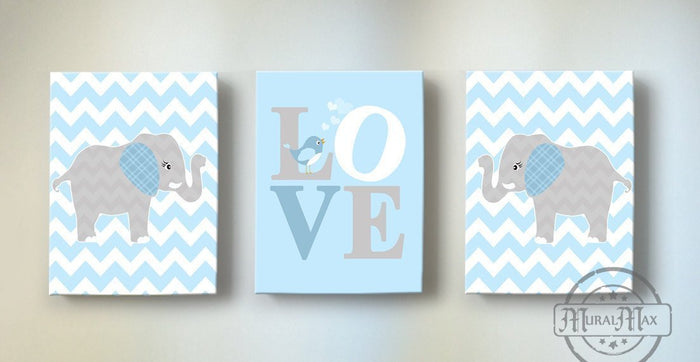 Baby Blue and Gray Love Nursery Canvas Art - Inspirational Quote - The Elephant Collection - Chevron Canvas Art Decor - Set of 3