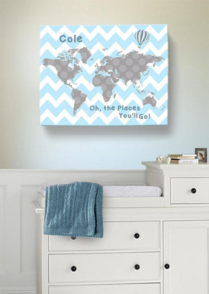 Baby Blue and Gray Map Nursery Wall Art - Personalized Dr Seuss Nursery Decor - Oh The Places You'll Go - MuralMax Interiors