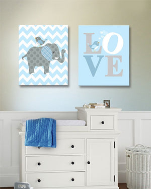 Baby Blue Elephant Nursery Art - Love Inspirational Quote - The Elephant Collection - Set of 2Baby ProductMuralMax Interiors