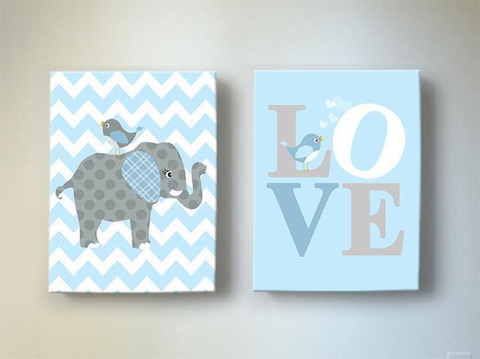 Baby Blue Elephant Nursery Art - Love Inspirational Quote - The Elephant Collection - Set of 2