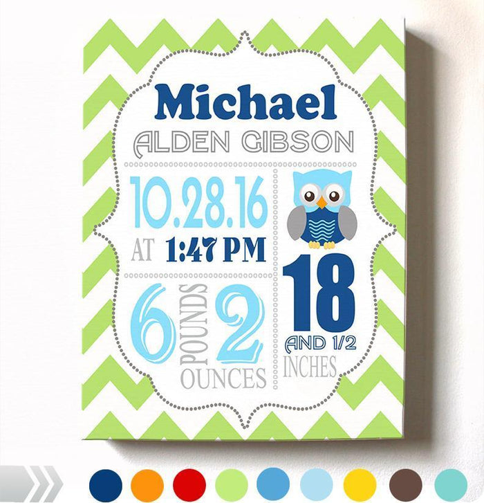 Baby Boy Birth Announcement Canvas Nursery Wall Art - Personalized Baby Gift- Baby Kepsake - B071P9T1T5