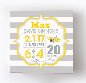 Baby Boy Birth Announcements Canvas Art - Airplane Nursery Decor - Baby Shower GiftsBaby ProductMuralMax Interiors