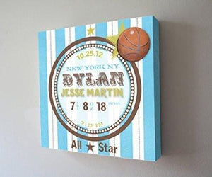 Baby Boy Birth Announcements Canvas Art - Modern Stripes & Basketball Nursery Decor - Baby Keepsake - (Blue) - Stretched Canvas - B018GTALY6Baby ProductMuralMax Interiors