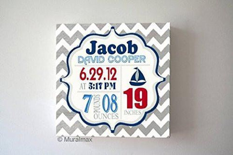 Baby Boy Custom Birth Announcements - Sailboat Nursery Art Baby Boy - Make Your New Baby Gifts Memorable - Color: Gray - Canvas Wall Art-B018GSXX2Y - MuralMax Interiors