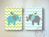 Baby Boy Green And Gray Elephant & Lovebird Chevron Canvas Nursery Decor - Set of 2