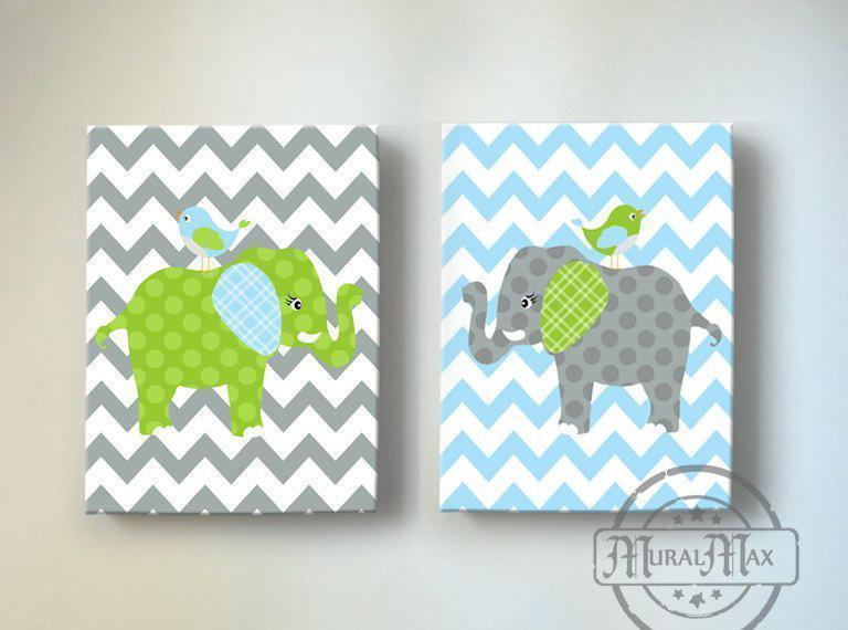 Baby Boy Green And Gray Elephant & Lovebird Chevron Canvas Nursery Decor - Set of 2Baby ProductMuralMax Interiors