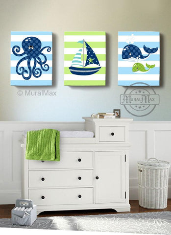 Baby Boy Nautical Sailboat Octopus & Whale Canvas Wall Art - Navy Green Nursery Decor - Set of 3