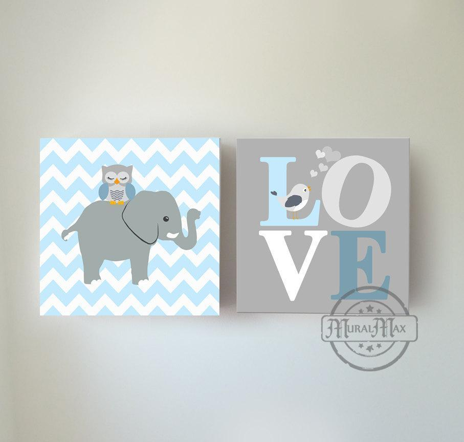Baby Boy Nursery Art Blue Gray Elephant Love Owl Bird Decor - Set of 2 Canvas Art - MuralMax Interiors