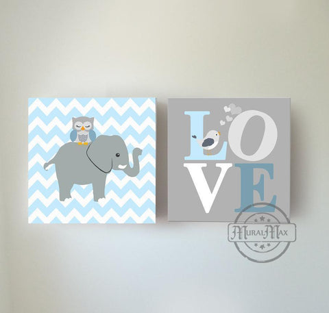 Baby Boy Nursery Art Blue Gray Elephant Love Owl Bird Decor - Set of 2 Canvas Art