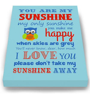 Baby Boy Nursery Art - You Are My Sunshine Canvas Art - New Baby Gift - Choice of Designer ColorsBaby ProductMuralMax Interiors
