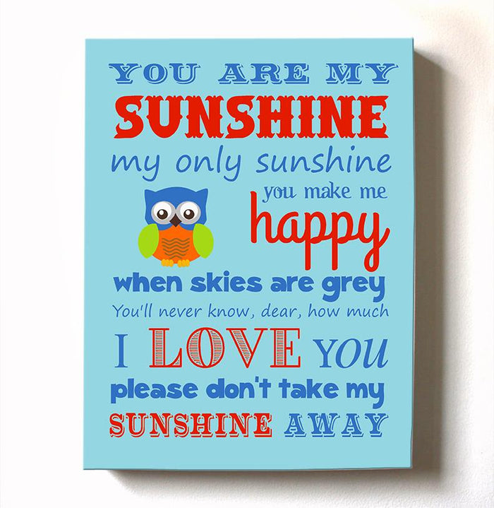 Baby Boy Nursery Art - You Are My Sunshine Canvas Art - New Baby Gift - Choice of Designer Colors