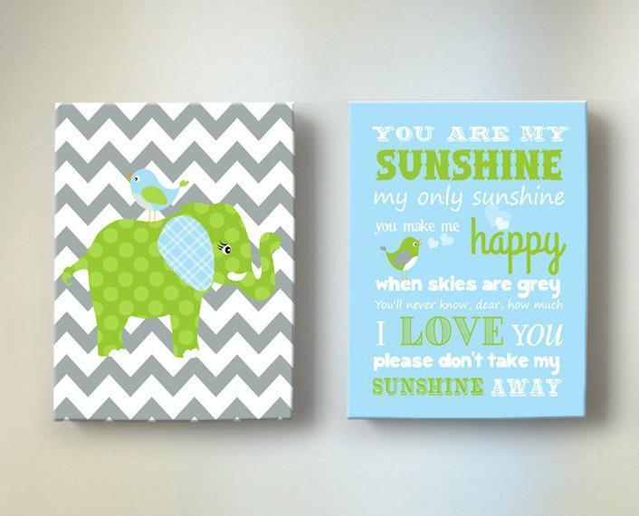 Baby Boy Nursery Art - You Are My Sunshine Chevron Elephant Canvas Decor -Set of 2 - MuralMax Interiors