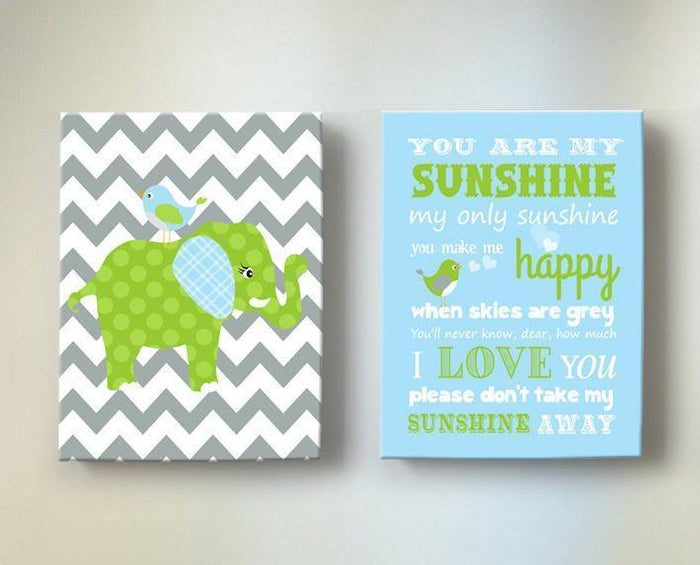 Baby Boy Nursery Art - You Are My Sunshine Chevron Elephant Canvas Decor -Set of 2