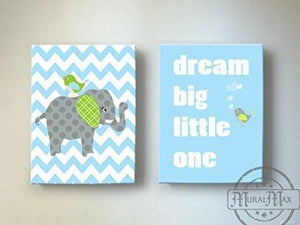 Baby Boy Nursery Decor Dream Big Little One Rhyme - Chevron Canvas Decor -The Elephants & Lovebird Collection - Set of 2-B018ISJUBABaby ProductMuralMax Interiors