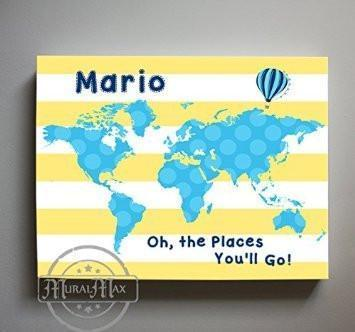 Baby Boy Nursery Decor - Personalized Dr Seuss Canvas Nursery Art - Striped Canvas World Map Collection - Oh The Places You'll Go-B018ISFQX6