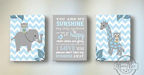 Baby Boy Nursery Decor You Are My Sunshine - Chevron Canvas Art - Zoo Animals - Set of 3