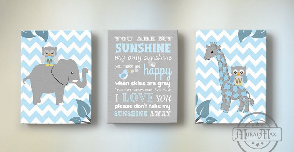 Baby Boy Nursery Decor You Are My Sunshine - Chevron Canvas Art - Zoo Animals - Set of 3 - MuralMax Interiors