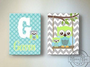 Baby Boy Personalized Nursery Art - Chevron Owls Swinging From A Branch - Canvas Art - Set of 2Baby ProductMuralMax Interiors