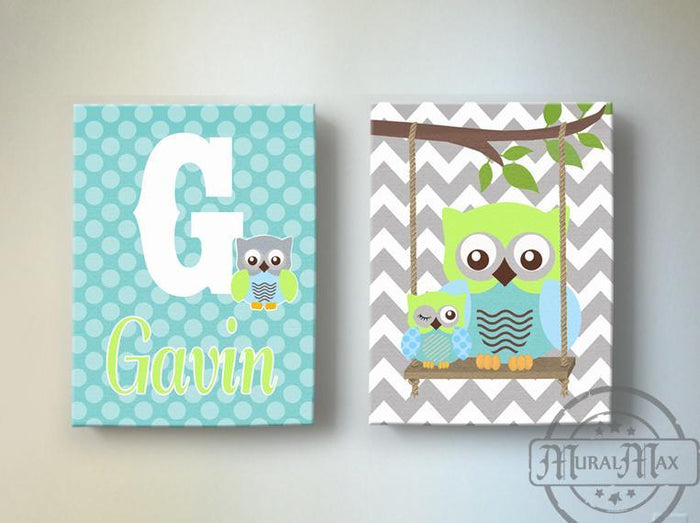 Baby Boy Personalized Nursery Art - Chevron Owls Swinging From A Branch - Canvas Art - Set of 2