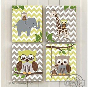 Baby Boy Room Decor Owl Elephant & Giraffe Jungle Canvas Decor - Set of 4 - MuralMax Interiors