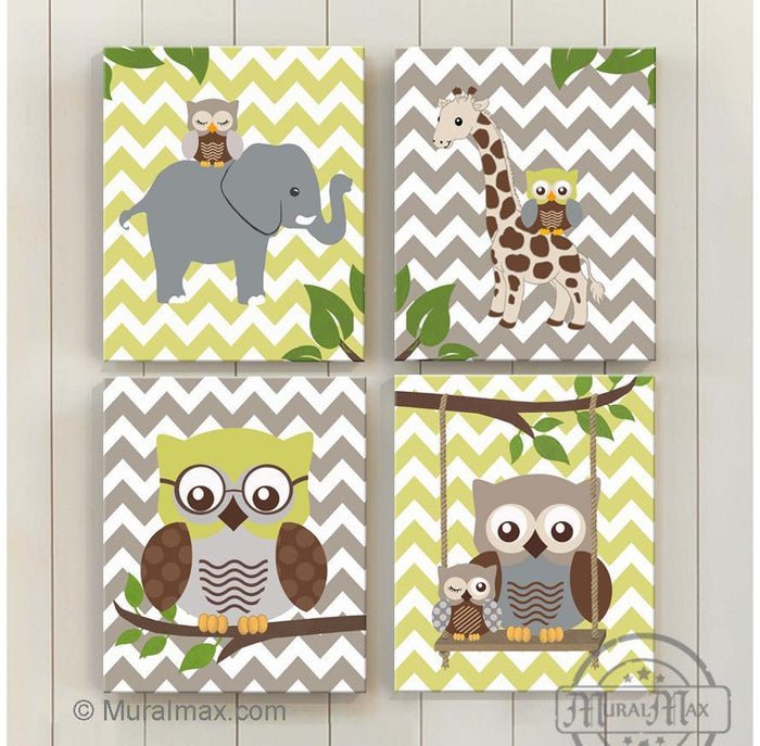 Baby Boy Room Decor Owl Elephant & Giraffe Jungle Canvas Decor - Set of 4