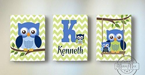 Baby Boy Room Decor Personalized Chevron Owl Canvas Wall Art - Set of 3-Blue Green Nursery Decor
