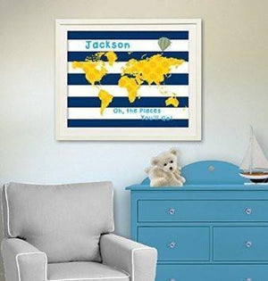 Baby Boy Room Decor Personalized Dr Seuss Map - Oh - The Places You'll Go - Unframed Print-B018KOAW0KBaby ProductMuralMax Interiors