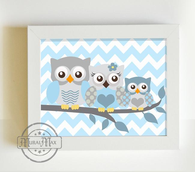 Baby Boys Nursery - Chevron Owl Family of 3 - Unframed Print - Blue Gray Decor-MuralMax Interiors