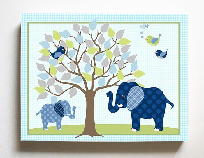 Baby Elephant Under Tree Boy Room Decor Art - Canvas Nursery Art - Navy Green Nursery Decor