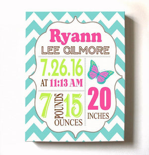 Baby Girl Birth Announcement Canvas Wall Art - Personalized Baby Gift- Baby Kepsake - B072LXQD7PBaby ProductMuralMax Interiors