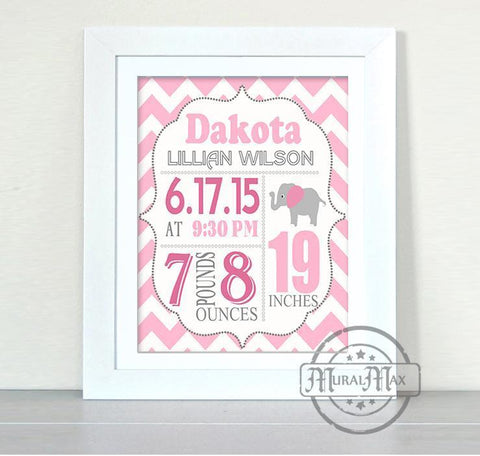 Baby Girl Birth Announcement - Custom Elephant Nursery Decor in Pink and Gray - Unframed Print - MuralMax Interiors