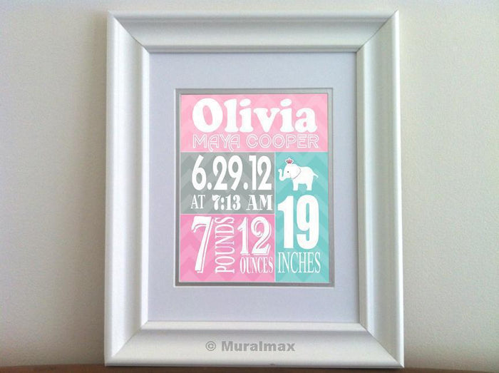 Baby Girl Birth Info Wall Art - Personalized Birth Announcement - Nursery Decor - Unframed Print