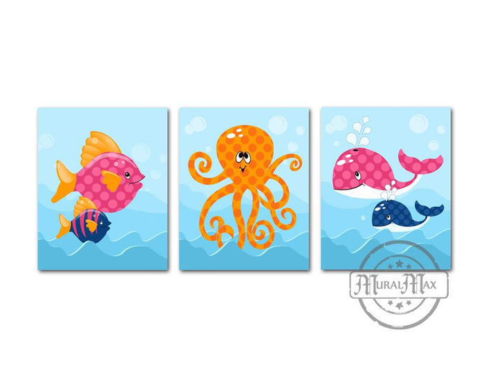 Baby Girl Nautical Nursery Ocean Life Fish and Whale Wall Art - Unframed Prints - Set of 3