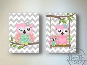 Baby Girl Nursery Art - Baby Owl Canvas Art - Whimsical Owl Collection - Set of 2-Pink Aqua GrayBaby ProductMuralMax Interiors