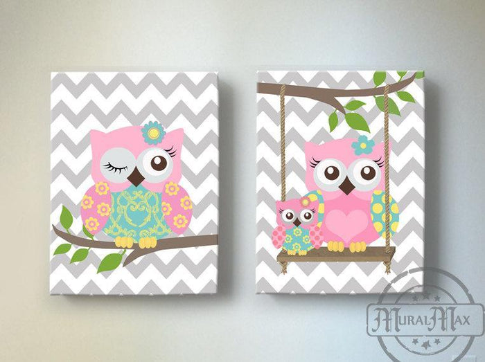 Baby Girl Nursery Art - Baby Owl Canvas Art - Whimsical Owl Collection - Set of 2-Pink Aqua Gray
