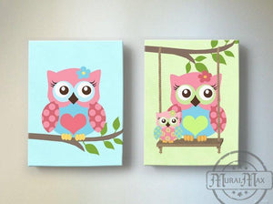 Baby Girl Nursery Art Owl Canvas Decor - Pink Green Aqua Nursery Art - Set of 2Baby ProductMuralMax Interiors