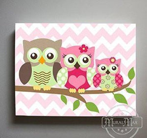Baby Girl Nursery Art - Owl Family Canvas Art - Hot Pink Green Girl Room DecorBaby ProductMuralMax Interiors