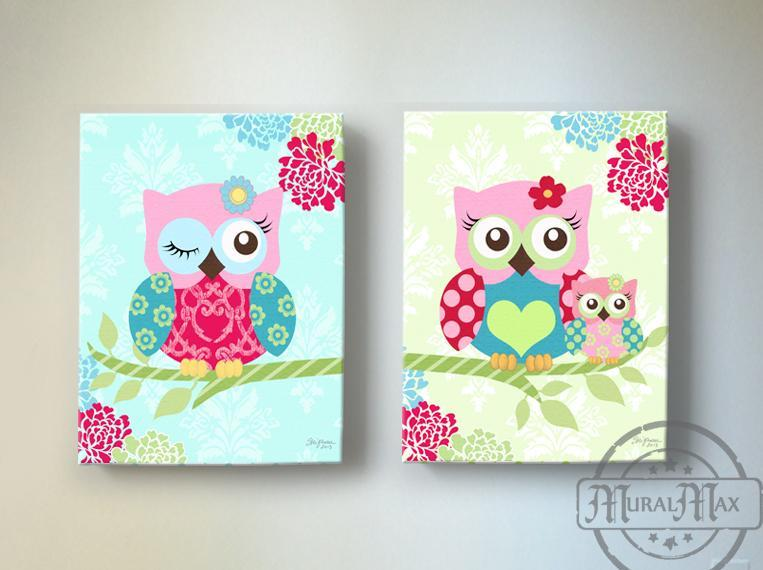 Baby Girl Nursery Art - Pink Teal Owl Family - Floral Mums Canvas Art Decor - Set of 2-MuralMax Interiors