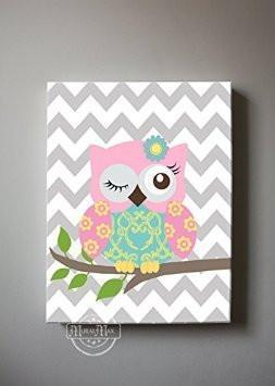 Baby Girl Nursery Art - Winking Owl Canvas Decor - Pink Aqua Gray DecorBaby ProductMuralMax Interiors