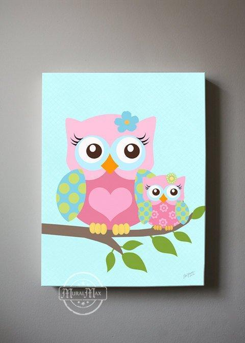 Baby Girl Nursery Decor - Mom & Baby Owl Canvas Decor - The Owl CollectionBaby ProductMuralMax Interiors