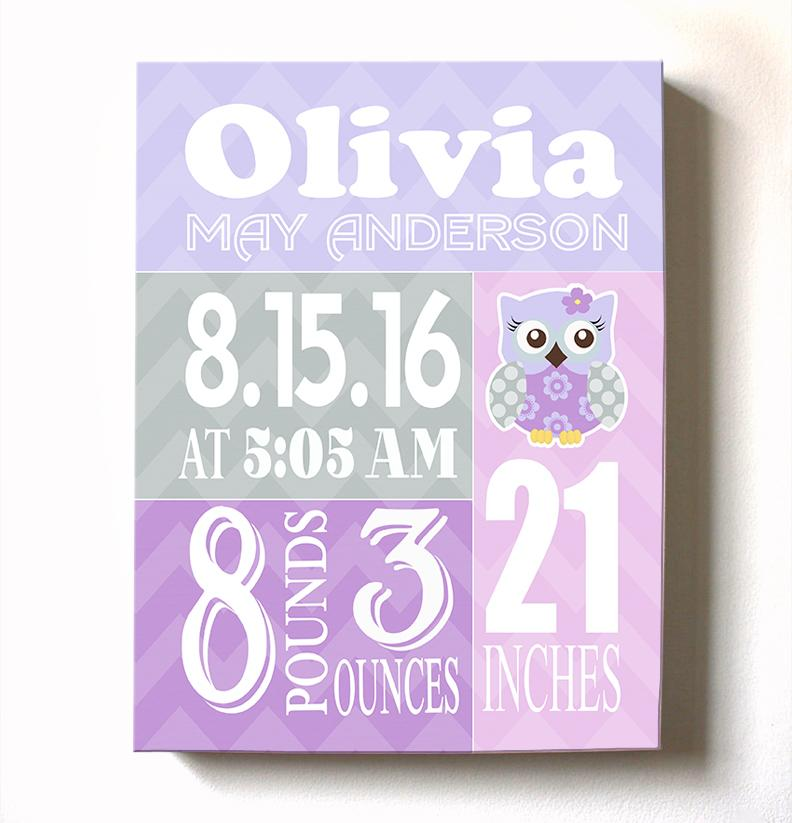 Baby Girl Nursery Decor Personalized Birth Announcements Owl Nursery Art New Baby Gifts
