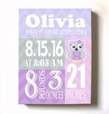 Baby Girl Nursery Decor Personalized Birth Announcements - Owl Nursery Art - New Baby GiftsBaby ProductMuralMax Interiors