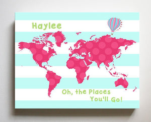 Baby Girl Nursery Decor Personalized Dr Seuss Nursery Decor - Chevron Canvas World Map Collection - Oh The Places You'll Go-B018ISO2YU - MuralMax Interiors