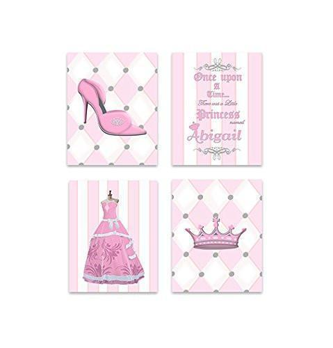 Baby Girl Nursery Personalized Princess Wardrobe Collection - Set of 4 - Unframed Prints-B01CRT6ZB4