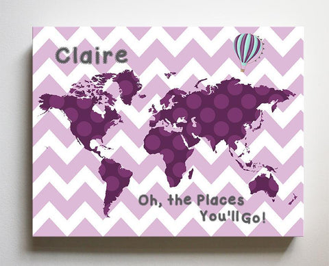 Baby Girl Nursery Wall Art - Dr Seuss Map Nursery Decor - Chevron World Map Collection - Oh The Places You'll Go-B071W2RK6Y - MuralMax Interiors