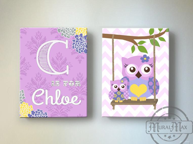 Baby Girl Nursery Wall Art - Personalized Owl Canvas Art -Purple Nursery Decor- Set of 2Baby ProductMuralMax Interiors
