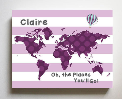 Baby Girl Nursery Wall Art Personalized World Map Nursery Wall Decor - Dr. Seuss Nursery Decor - Inspirational Wall Art, Oh the Places You'll Go-B018ISNYKSBaby ProductMuralMax Interiors