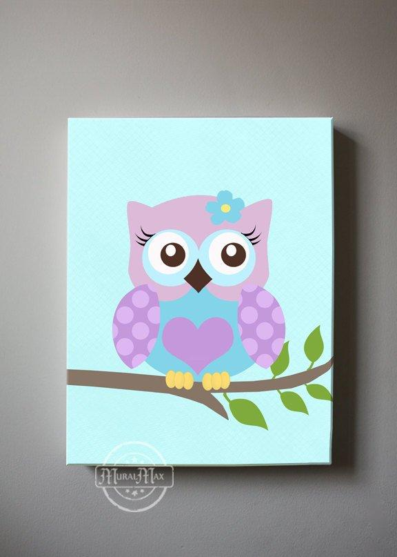 Baby Girl Owl Nursery Art  - Blue Purple Canvas Wall Art - Whimsical Owl CollectionBaby ProductMuralMax Interiors