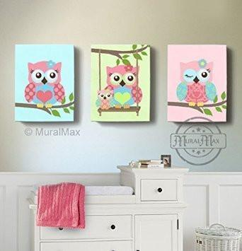Baby Girl Owl Nursery Decor - Swinging Family Owls Canvas Wall Art - Set of 3