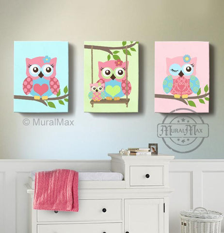 Baby Girl Owl Nursery Decor - Swinging Family Owls Canvas Wall Art - Set of 3 - MuralMax Interiors
